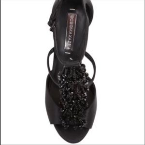 BCBG black satin beaded fringe high heels sandals